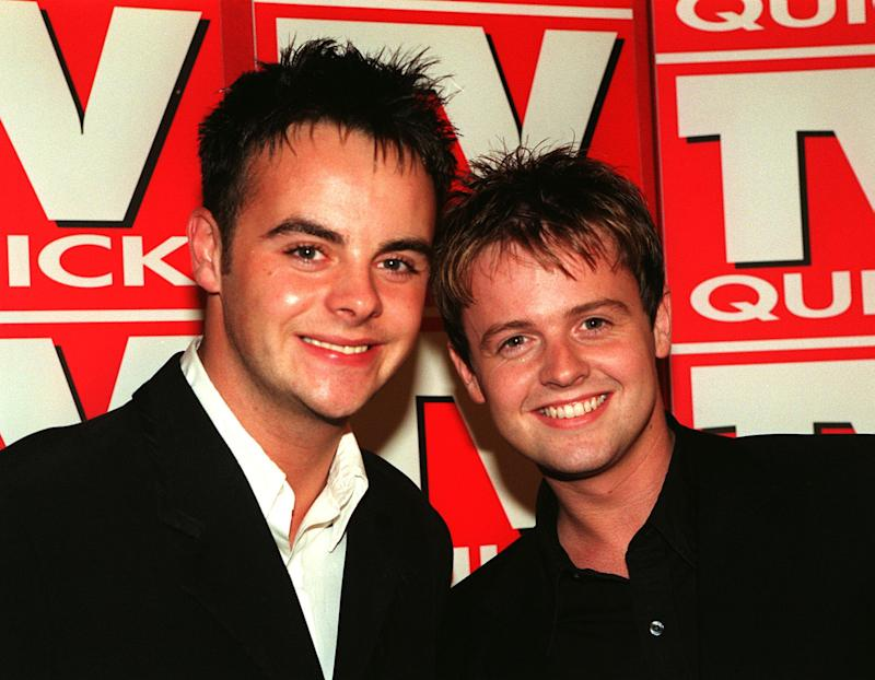 TV presenters Ant McPartlin (L) and Declan Donnelly at the TV Hits Awards at the Grosvenor Hosuse Hotel in London. 7/11/00: The duo who are quitting the BBC for ITV after talks for a new series of their show Friends Like These broke down. * The Geordie duo already front the hugely successful Saturday morning SM:TV Live on ITV. 21/11/00: The duo are to quit their Saturday morning children's slot. The duo have told ITV bosses they want to leave SM:tv and CD:UK in May 2001. New projects are being prepared for the pair who sprang to fame in the BBC children's series Byker Grove.