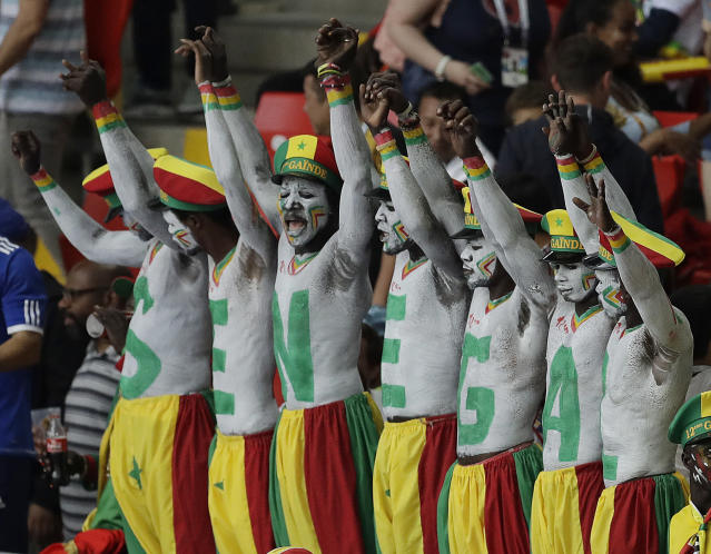 Senegal fans cheers during the group H match between Poland and Senegal at the 2018 soccer World Cup in the Spartak Stadium in Moscow, Russia, Tuesday, June 19, 2018. (AP Photo/Themba Hadebe)