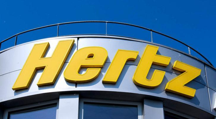 Hertz stock sign in Montevrain, France on May 8, 2016.