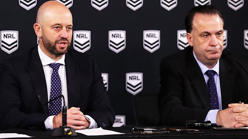 Todd Greenberg and Peter V'landys, pictured here addressing the media in Sydney.