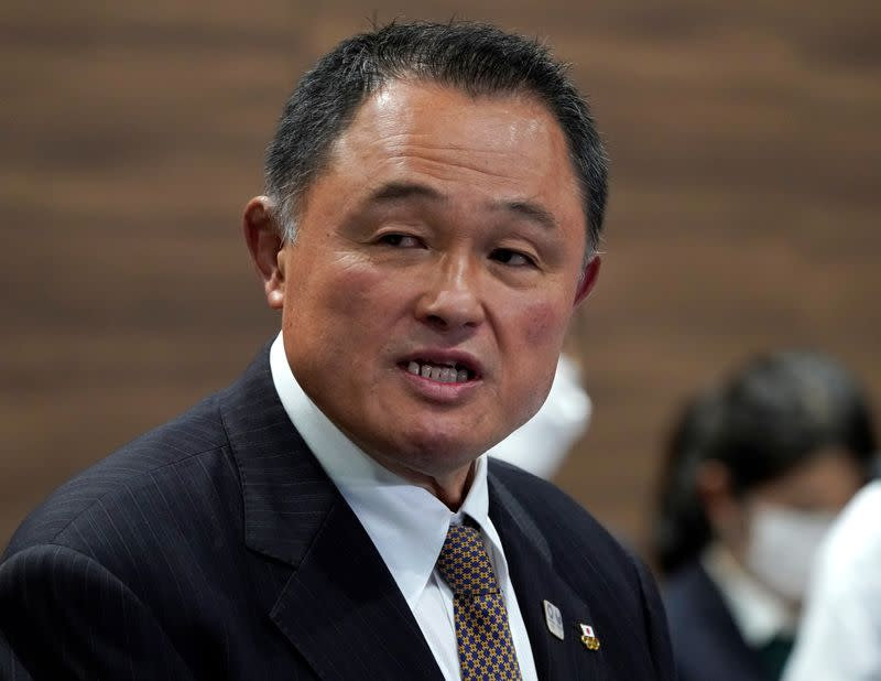 FILE PHOTO: Japanese Olympic Committee (JOC) President Yasuhiro Yamashita speaks to media during a news conference in Tokyo