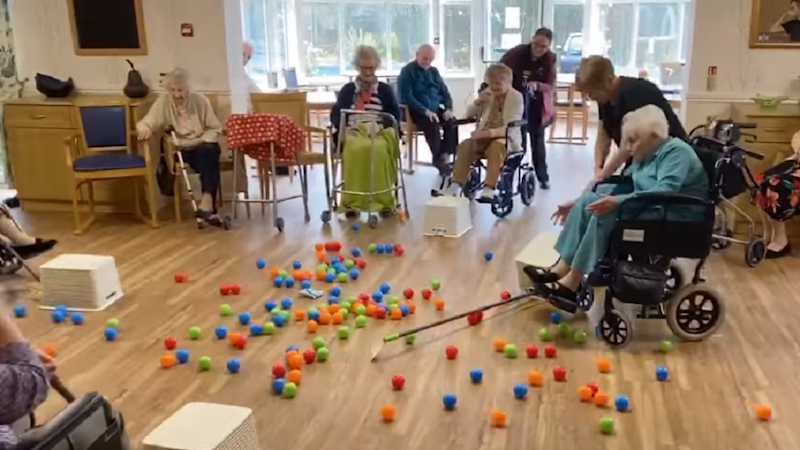Nursing home residents play life-sized Hungry Hungry Hippos in coronavirus lockdown