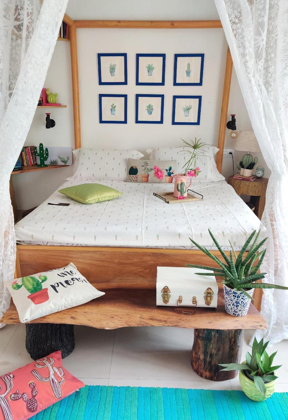 The succulent-themed guest bedroom.
