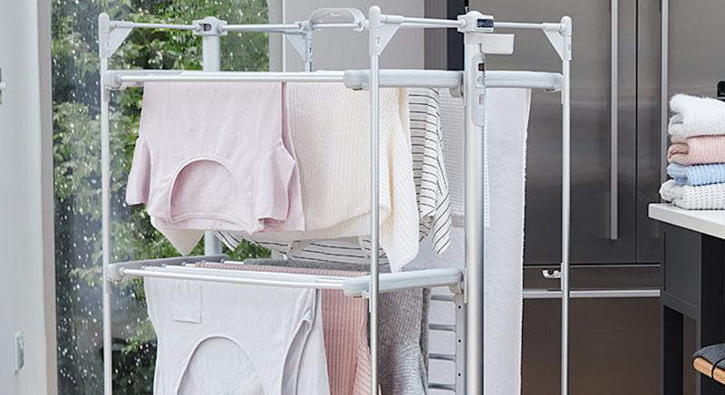 This heated airer is about to make laundry in winter a whole lot easier. [Photo: Amazon]