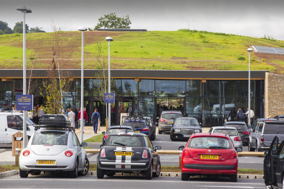 A green roof on the Gloucester Service Station on the M5 motorway, UK.