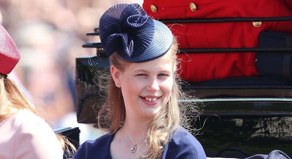 LONDON, ENGLAND - JUNE 09: Lady Louise Windsor during Trooping The Colour on the Mall on June 9, 2018 in London, England. The annual ceremony involving over 1400 guardsmen and cavalry, is believed to have first been performed during the reign of King Charles II. The parade marks the official birthday of the Sovereign, even though the Queen's actual birthday is on April 21st.  (Photo by Chris Jackson/Getty Images)