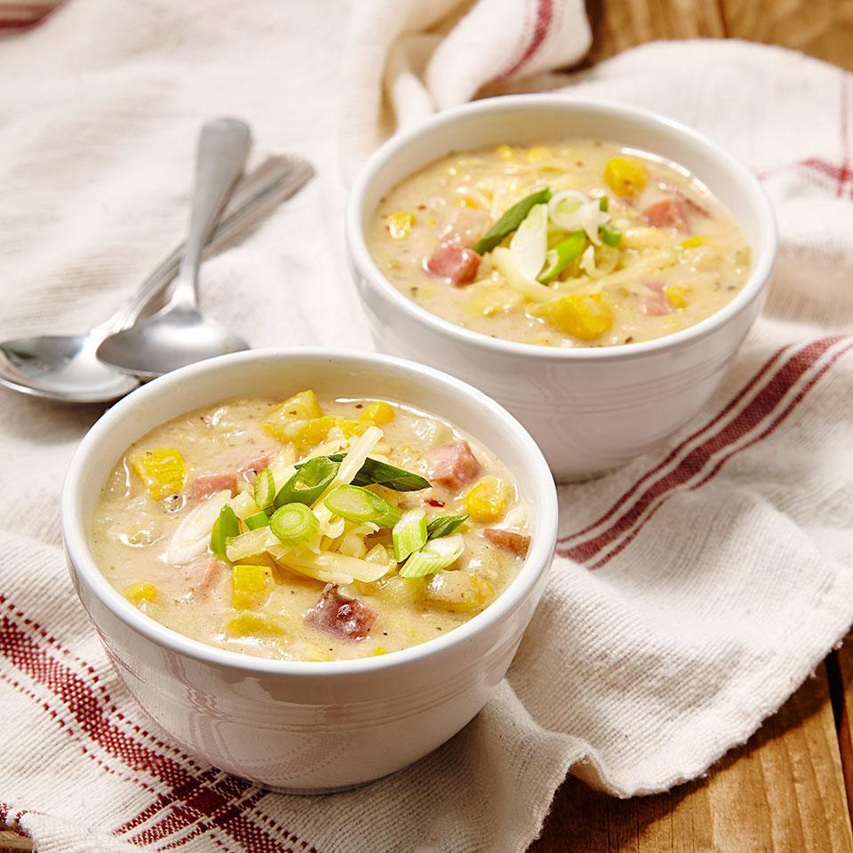 <p>In this healthy corn chowder recipe, heavy cream is replaced with milk and flour-thickened chicken broth and we keep sodium amounts reasonable with lower-sodium broth. By making your own homemade creamy vegetable and corn chowder, you'll save up to 300 calories, 20 grams of saturated fat and 500 milligrams of sodium per serving compared to many store-bought or restaurant chowders.</p>