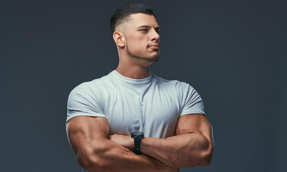 Portrait of a muscular bodybuilder
