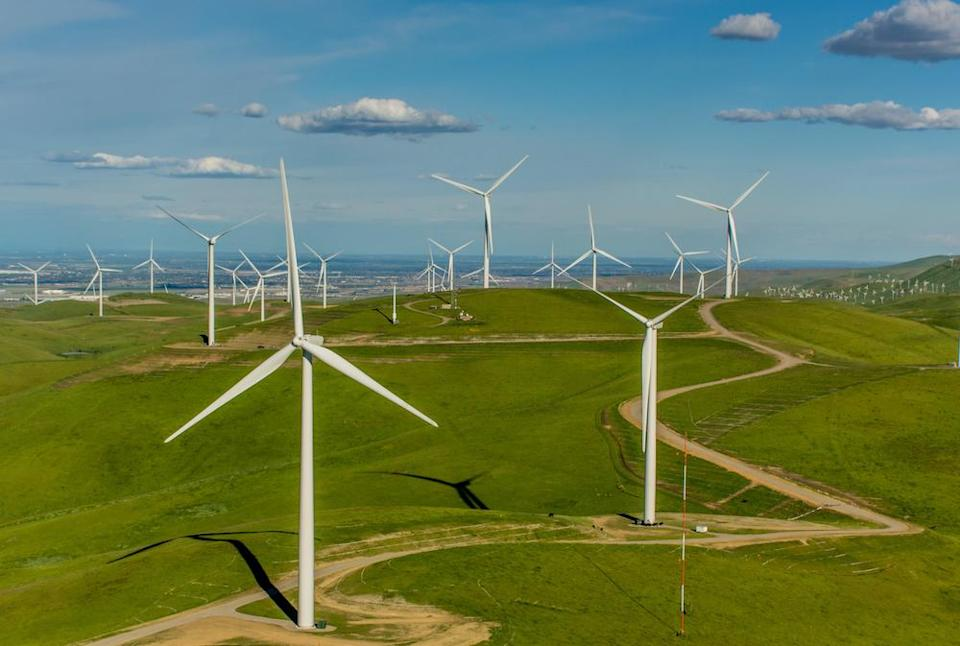 Golden Hills Wind farm in Alameda County, California is a 85.9 megawatt wind farm with 48 1.7mw GE wind turbines. The turbine blades have a diameter of 100 meters and can power 25,500 homes. The project came online in December 2015 and was developed by Nextera Energy Resources for Google.