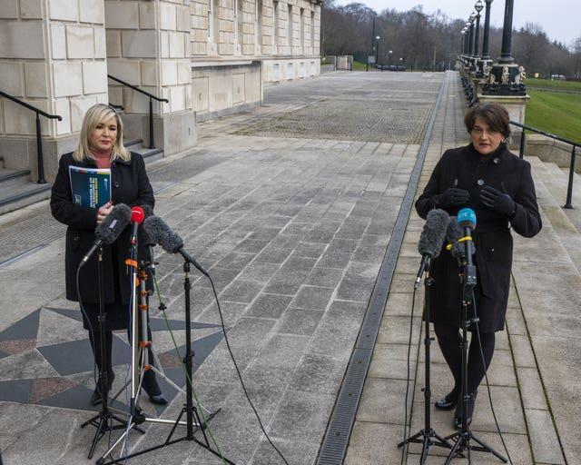 Northern Ireland deputy First Minister Michelle O'Neill and Northern Ireland First Minister Arlene Foster during a press conference at Stormont on the pathway to recovery