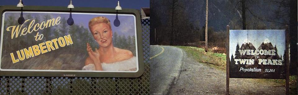 """The """"Welcome""""signs from Blue Velvet and Twin Peaks."""