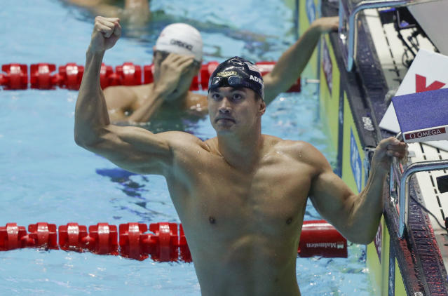 United States's swimmer Nathan Adrian celebrates after they won teh men's 4x100m freestyle relay final at the World Swimming Championships in Gwangju, South Korea, Sunday, July 21, 2019. (AP Photo/Mark Schiefelbein)