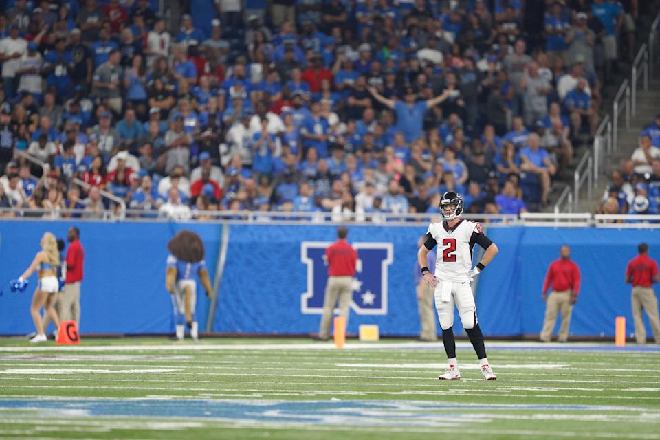Atlanta Falcons quarterback Matt Ryan during the fourth quarter against the Detroit Lions at Ford Field, Sept. 24, 2017.