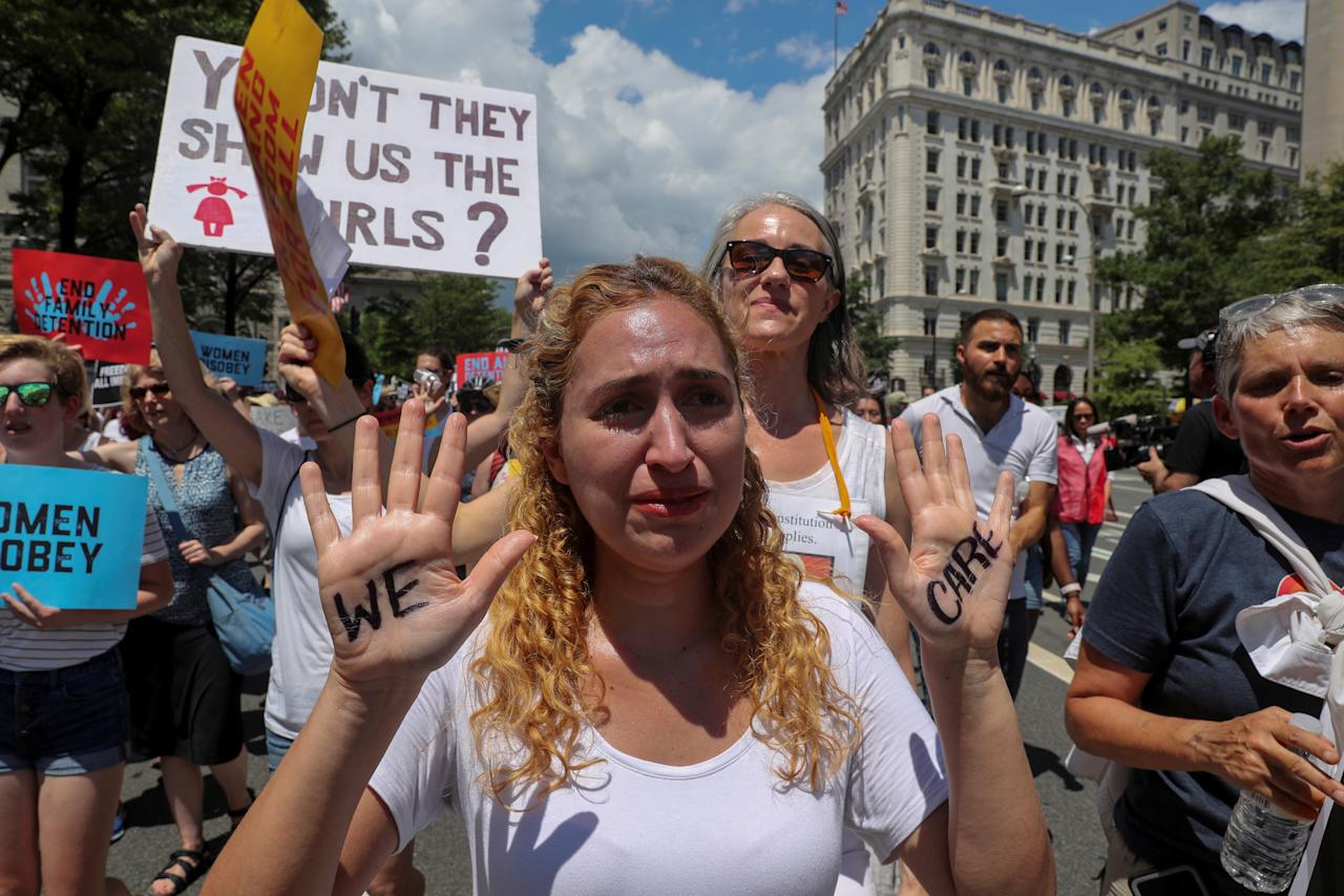 """<p>A demonstrator cries as she joins a rally and march calling for """"an end to family detention"""" and in opposition to the immigration policies of the Trump administration in Washington, D.C., June 28, 2018. (Photo: Jonathan Ernst/Reuters) </p>"""