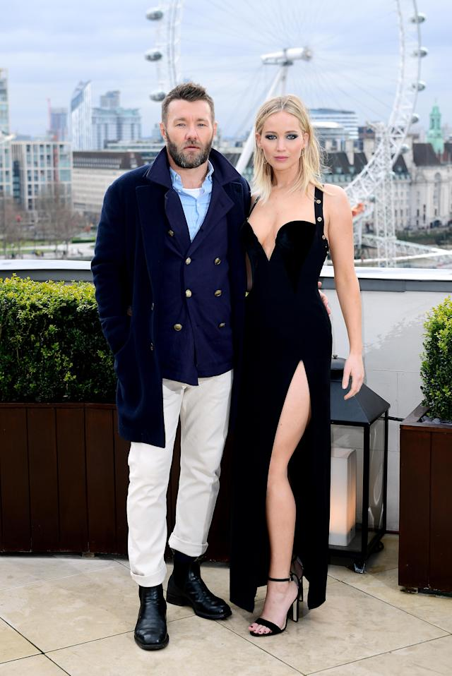 Joel Edgerton and Jennifer Lawrence attend a <i>Red Sparrow</i> photo call at the Corinthia Hotel London. (Photo: Ian West/PA Images via Getty Images)