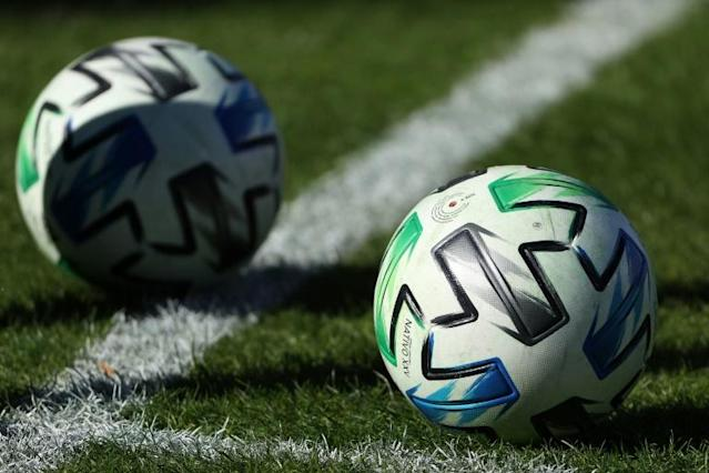 Major League Soccer balls such as these could be rolling across fields in Orlando as part of a 26-team event if the league and players can agree on a planned tournament, according to reports (AFP Photo/Patrick Smith)