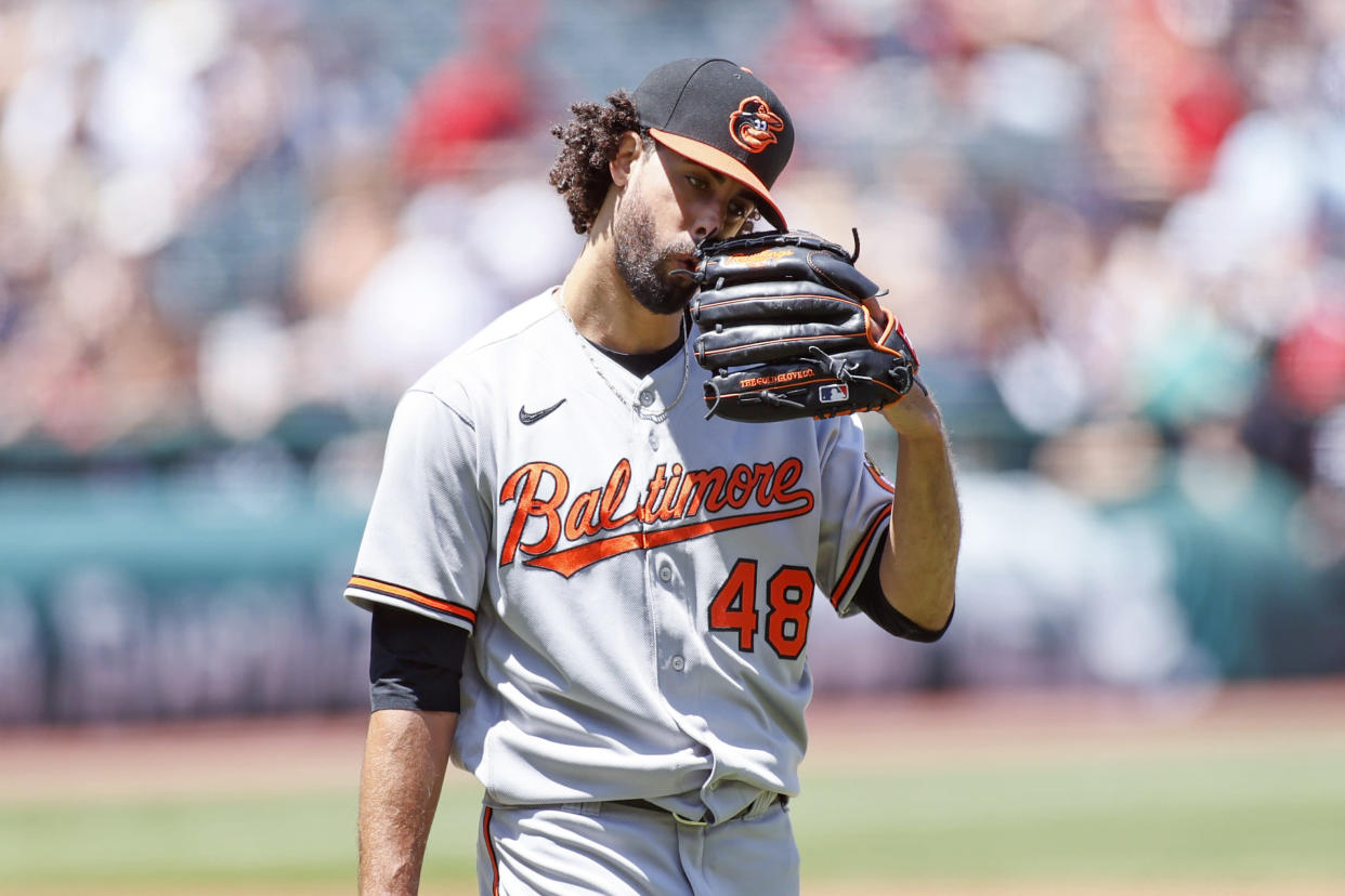 CLEVELAND, OH - JUNE 17: Jorge Lopez #48 of the Baltimore Orioles reacts after giving up three runs against the Cleveland Indians during the first inning at Progressive Field on June 17, 2021 in Cleveland, Ohio. The Indians defeated the Orioles 10-3. (Photo by Ron Schwane/Getty Images)