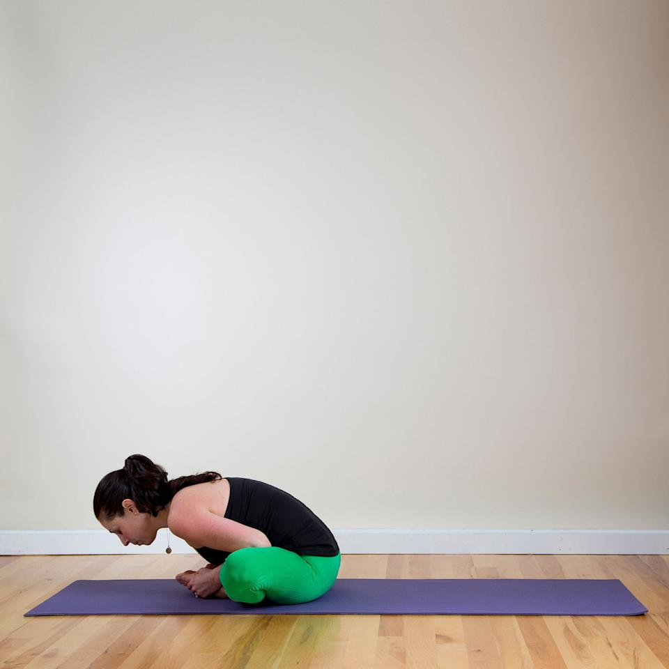 <ul> <li>Sit on the ground, bend both knees, and bring your feet together. Using your hands, open your feet up like a book. Use your leg muscles to press your knees down toward the floor.</li> <li>Lengthen your spine, drawing your belly button inward. Relax your shoulders and gaze either in front of you or toward your feet. Stay here for five breaths, then slowly fold forward, drawing your torso toward your legs. Remember to try to keep your spine straight.</li> <li>Rest your hands on your feet, pressing your knees down with your arms, or if you want more of a stretch, extend your arms out in front of you. Stay here for another five breaths.</li> </ul>