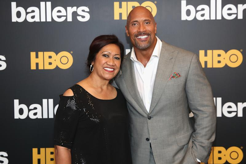 Dwayne Johnson with his mother, Ata. (Aaron Davidson via Getty Images)
