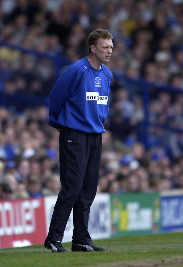 13 Apr 2002: Everton manager David Moyes on the touchline during the Everton v Leicester City FA Barclaycard Premiership match at Goodison Park, Everton. DIGITAL IMAGE Mandatory Credit: CLIVE BRUNSKILL/Getty Images