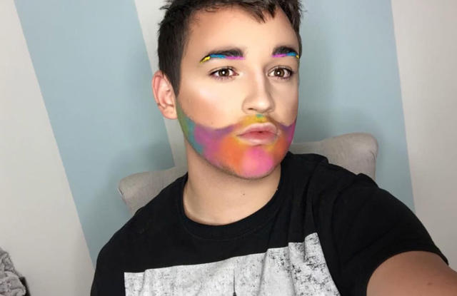 "<p><span>Payton Johnsone slays his Pride Month makeup with a pastel beard and bold eyebrows. (Photo: </span><a href=""https://www.instagram.com/p/BVSP7pKBH8x/"" rel=""nofollow noopener"" target=""_blank"" data-ylk=""slk:paytonjohnsone/Instagram"" class=""link rapid-noclick-resp"">paytonjohnsone/Instagram</a>) </p>"