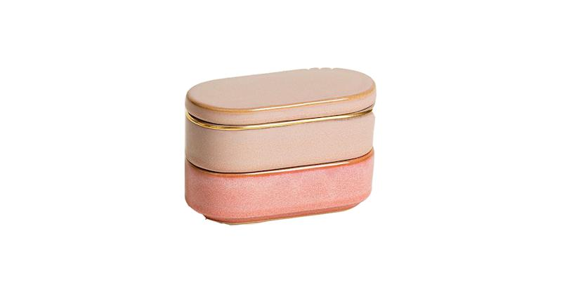 Oblong Pink Ceramic Stacking Pots Set of Two