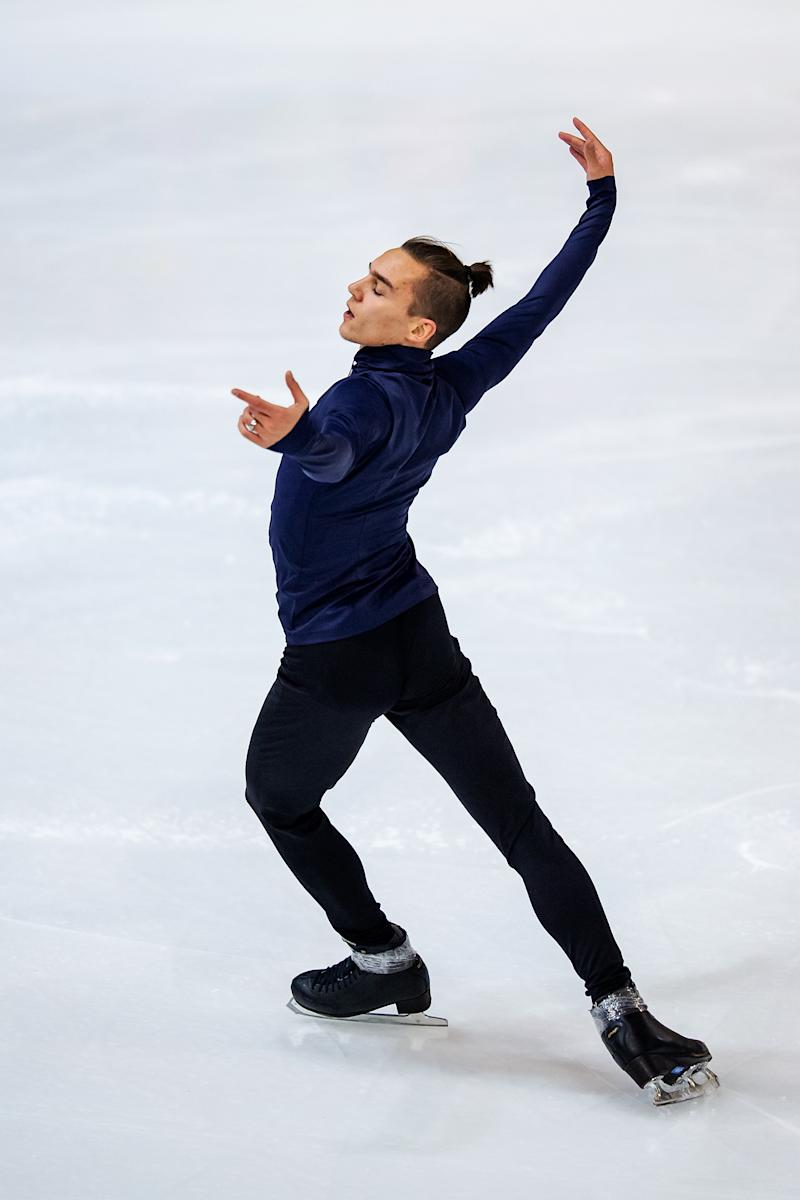 Anton Shulepov of Russia competes in the men's short program during day 1 of the ISU Grand Prix of Figure Skating Internationaux de France at Polesud Ice Skating Rink on Nov. 01, 2019 in Grenoble, France. | Joosep Martinson—Getty Images