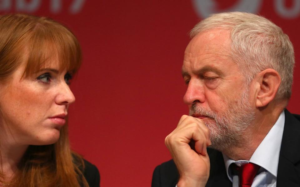Angela Rayner and Jeremy Corbyn at Labour conference in 2017 - NEIL HALL/EPA