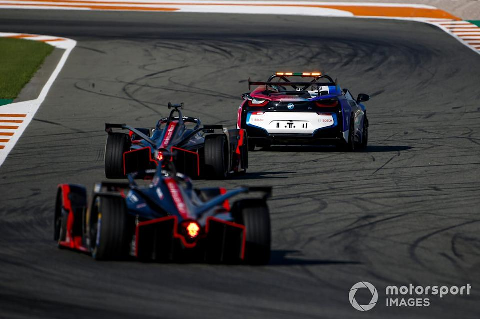 """BMW i8 Safety car Oliver Rowland, Nissan e.Dams, Nissan IMO2, Sebastien Buemi, Nissan e.Dams, Nissan IMO2<span class=""""copyright"""">Andrew Ferraro / Motorsport Images</span>"""