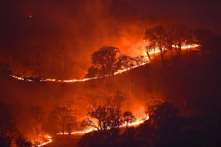 The Marsh Fire, shown burning on a hillside in Brentwood, is one of 29 active wildfires in California, according to the state's Department of Forestry and Fire Protection.