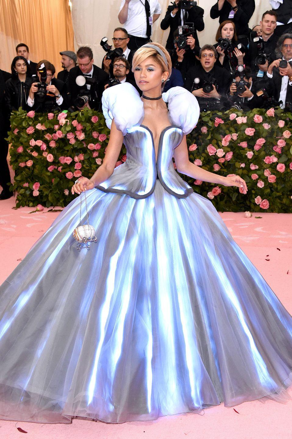 <p>Simply no one at the 2019 Met Gala was ready for her to show up looking like a real-life fairy tale. This Cinderella-inspired look was custom made by Tommy Hilfiger, and it fully lit up the red carpet (like, literally, it had a light-up feature installed).</p>