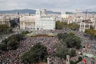 General view of Plaza de Cataluya during a protest after a verdict in a trial over a banned independence referendum, in Barcelona