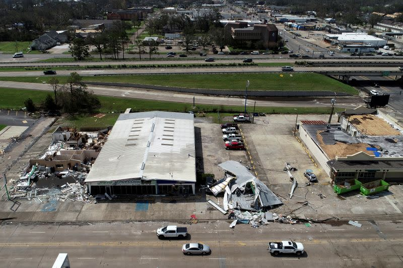 FILE PHOTO: Buildings damaged by Hurricane Laura are seen in an aerial photograph in Lake Charles