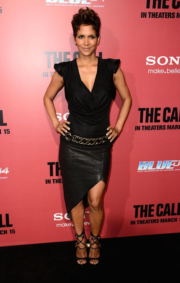 "HOLLYWOOD, CA - MARCH 05:  Actress Halle Berry arrives at the premiere Of Tri Star Pictures' ""The Call"" at ArcLight Cinemas on March 5, 2013 in Hollywood, California.  (Photo by Frazer Harrison/Getty Images)"