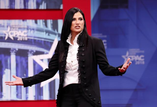 <p>National Rifle Association (NRA) spokeswoman Dana Loesch speaks at the Conservative Political Action Conference (CPAC) at National Harbor, Md., Feb. 22, 2018. (Photo: Kevin Lamarque/Reuters) </p>