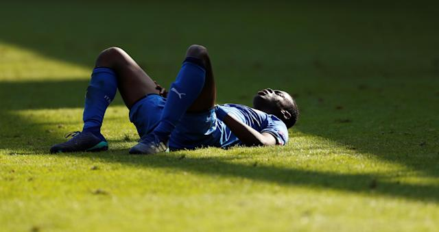 Soccer Football - UEFA European Under-17 Championship - Group A - England v Italy - The Banks's Stadium, Walsall, Britain - May 7, 2018 Italy's Paolo Gozzi Iweru lies on the pitch with cramp Action Images via Reuters/Andrew Boyers