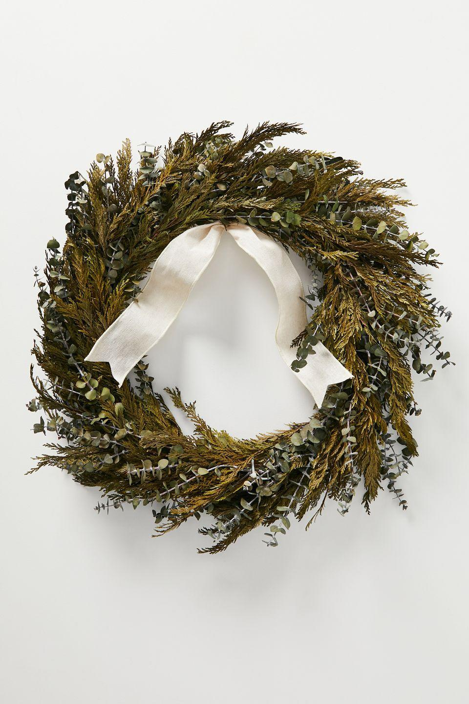 "<p>Putting up your wreath earlier than normal, means looking for one that can last for more than a month. This dried eucalyptus wreath is practical as well as simple and stylish. Ideal for cheering up an elongated festive period. £68, <a href=""https://www.anthropologie.com/en-gb/shop/eucalytpus-dried-wreath?recommendation=dyrectray-SimilarProduct&color=030&type=REGULAR&size=One%20Size&quantity=1"" rel=""nofollow noopener"" target=""_blank"" data-ylk=""slk:anthropologie.com"" class=""link rapid-noclick-resp"">anthropologie.com</a></p>"