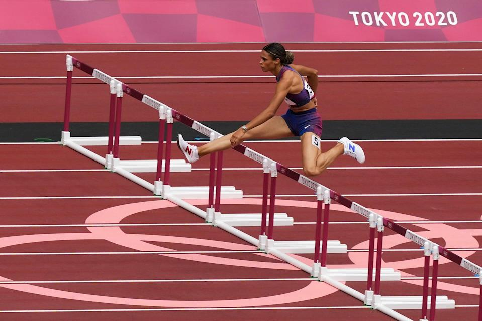 Sydney McLaughlin set a new world record to win the 400m hurdles (Martin Meissner/PA) (AP)