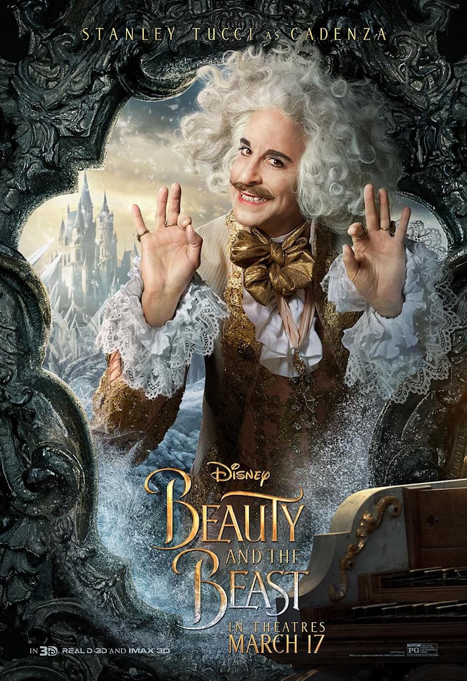 <p>Be our guest and watch Tucci bring his signature charm to the live-action adaptation of <em>Beauty and the Beast</em>. </p>