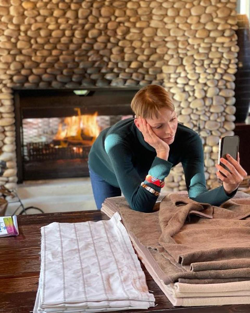 Princess Charlene of Monaco on a video call to her twins from South Africa. Photo: Instagram/hshprincesscharlene.