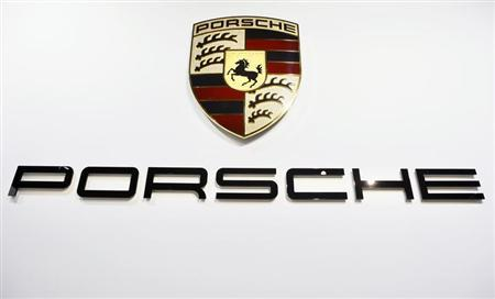 The Porsche logo is pictured during the 2013 Los Angeles Auto Show in Los Angeles