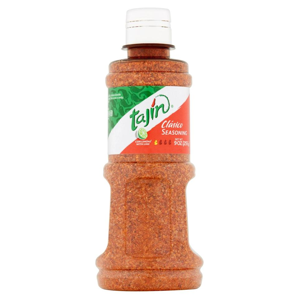 """<p><strong>Tajin</strong></p><p>walmart.com</p><p><strong>$3.98</strong></p><p><a href=""""https://go.redirectingat.com?id=74968X1596630&url=https%3A%2F%2Fwww.walmart.com%2Fip%2F170192822&sref=https%3A%2F%2Fwww.delish.com%2Fkitchen-tools%2Fg33983771%2Flatinx-owned-food-brands%2F"""" rel=""""nofollow noopener"""" target=""""_blank"""" data-ylk=""""slk:BUY NOW"""" class=""""link rapid-noclick-resp"""">BUY NOW</a></p><p>You haven't lived until you've put Tajín seasoning on your cucumber...or mango...or watermelon for a blast of flavor. The seasoning is so popular, major brands are adding it to their products, like <a href=""""https://www.delish.com/food-news/a30752238/tajin-tyson-chicken-nuggets/"""" rel=""""nofollow noopener"""" target=""""_blank"""" data-ylk=""""slk:breaded chicken"""" class=""""link rapid-noclick-resp"""">breaded chicken</a> and popsicles.</p>"""