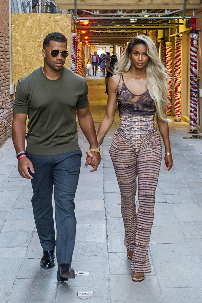 Russell Wilson and Ciara arrive at the Harry's Bar for a dinner on July 02, 2021, in Venice, Italy