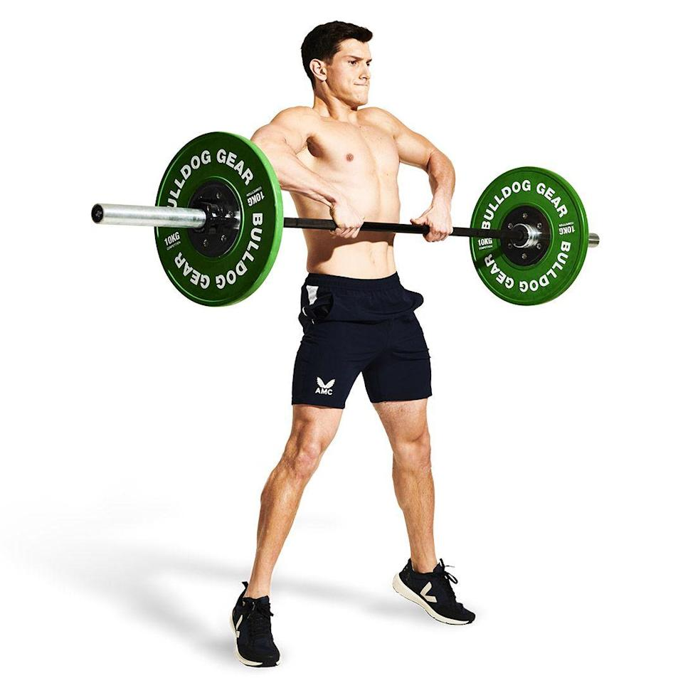 <p>Pull in your belly button, keeping your eyes forward. As you start to extend your legs and stand up, squeeze your back muscles and glutes. Remember: it's a vertical pull, so you need to keep that bar close to you.</p>