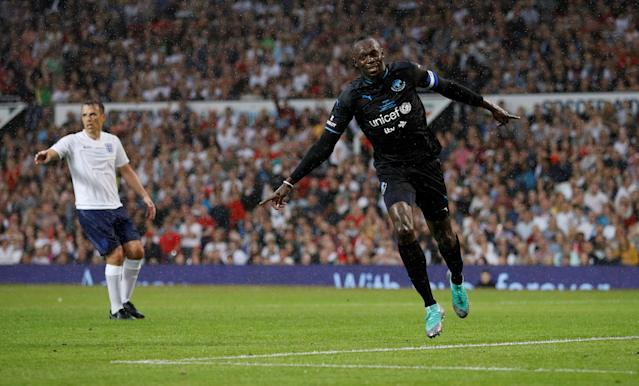 Soccer Football - Soccer Aid 2018 - England v Soccer Aid World XI - Old Trafford, Manchester, Britain - June 10, 2018 World XI's Usain Bolt celebrates scoring but the goal is disallowed REUTERS/Phil Noble