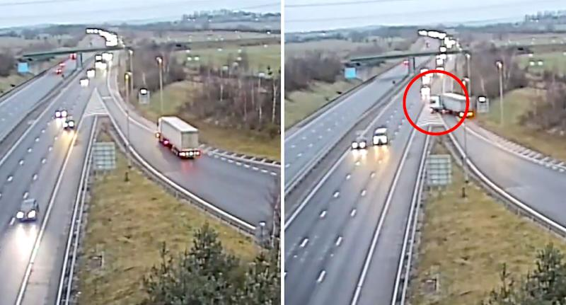 The truck driver heads into oncoming traffic in a dangerous manoeuvre on the M6 in England. Source: Staffordshire Police