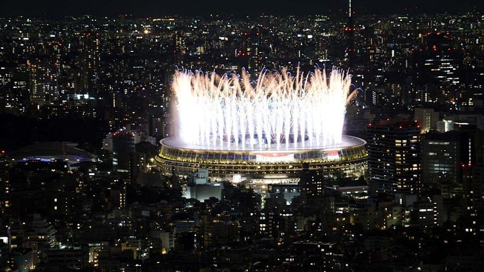 """<div class=""""paragraphs""""><p>The Japan National Stadium was lit with fireworks on Friday</p></div>"""