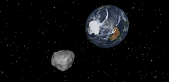 This NASA diagram depicting the passage of asteroid 2012 DA14 through the Earth-moon system on Feb. 15, 2013
