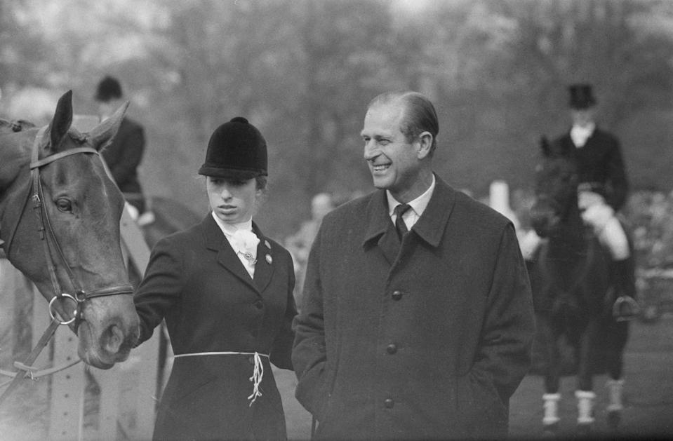 Princess Anne pictured at the Badminton Horse Trials, on 26 April 1971 with her father.Getty Images