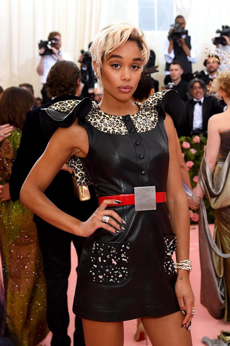 BVLGARI ambassador, Laura Harrier wore iconic B.zero1 rings and a Serpenti watch paired with heritage earrings. (Photo by Jamie McCarthy/Getty Images)